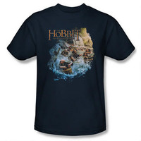 The Hobbit: The Desolation of Smaug Barrel Riders Adult Navy T-Shirt |