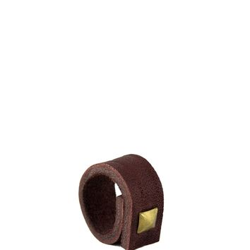 Punk Up Single Leather Stud Ring - Brown