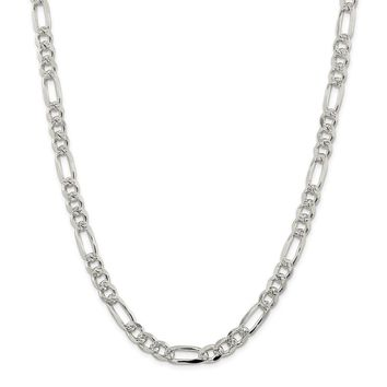 925 Sterling Silver 8mm Pave Flat Figaro Chain Necklace, Bracelet or Anklet