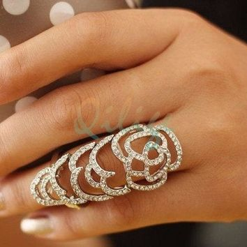 Diamond Camellia Long Ring Shining Ring