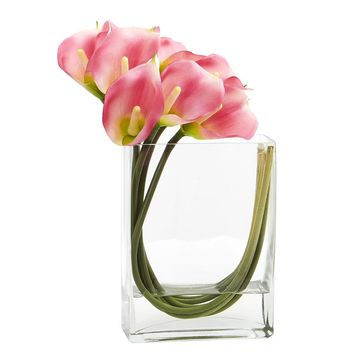 Silk Flowers -12 Inch Pink Calla Lily In Rectangular Glass Vase Artificial Plant
