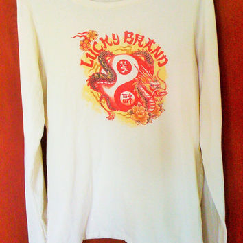 Womans Lucky Brand T Shirt with Dragon and Flowers, Size Large, Retro Tee, Cotton, Long Sleeves