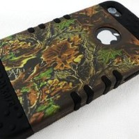 Apple iPhone 4 4s Faceplate - Camo Black Hybrid Rocker Series Case Cover