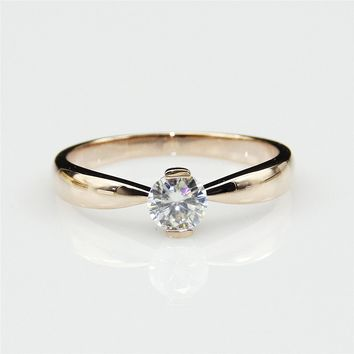 0.5ct Esdomera Moissanite Round Solitaire Half Bezel Set 14k Rose Gold Wedding Engagament Ring (CFR0052-ESMS0.5CT)