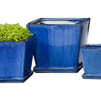 Asst. of 3 Darcy Planters, Blue, Outdoor Urns, Planters & Jardinieres