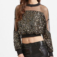 New Summer fashion women Solid Color O Neck Mesh &sequin long sleeve T-shirt -0630
