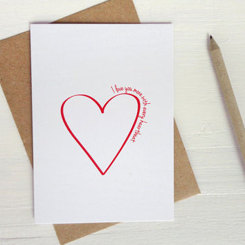 Anniversary card I love you more with every heartbeat love heart valentine