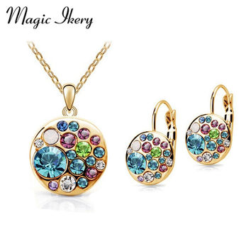 Vintage Set New 2015 18K Gold Plated / Silver Simulated Diamond Korean Multicolor Round African Costume Crystal Jewelry Sets