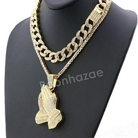 Hip Hop Iced Out Quavo PRAYING HANDS Miami Cuban Choker Tennis Chain Necklace L05