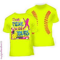 Girlie Softball I Bust Mine to Kick Yours T-Shirt in Safety Green