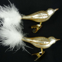 Vintage Christmas Ornaments Set of 2 Glass Birds with Feathers Clip On White Gold