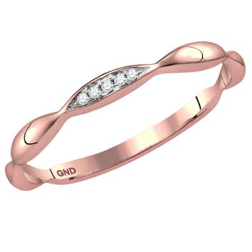 14kt Rose Gold Womens Round Diamond Contoured Stackable Band Ring .02 Cttw