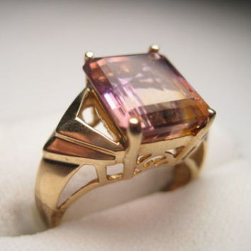 Vintage Ring, Ametrine, 10kt. Gold Ametrine Rectangular Cut Ring - appx 4.5 carats. - pretty