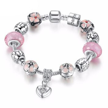 Silver Charm Bracelet with Heart Pendant & Cherry Blossom Pink Murano Glass Beads