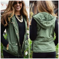 Bear Hug Olive Hooded Faux Fur Lined Vest