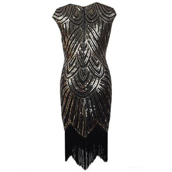 Women Cap Sleeve Retro Midi Party Tassel Dress 1920s Diamond Sequined Embellished Fringed Great Gatsby Flapper Dress Vestido