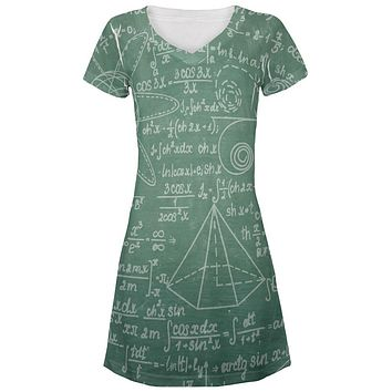 Math Geek Formulas Chalkboard All Over Juniors Beach Cover-Up Dress