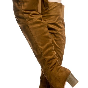 Tan Faux Suede Chunky Over the Knee Boots @ Cicihot Boots Catalog:women's winter boots,leather thigh high boots,black platform knee high boots,over the knee boots,Go Go boots,cowgirl boots,gladiator boots,womens dress boots,skirt boots.