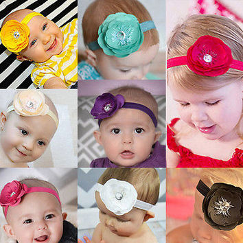 1Pcs Cute Girl Baby Toddler Infant Flower Headband 10 Colors 3C&