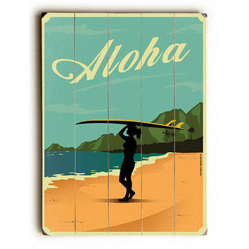 Aloha by American Flat Wood Sign