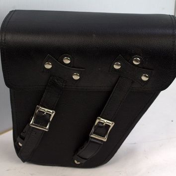 Motorcycle Leather Solo Right Side Bag For Harley Dyna Models Black New