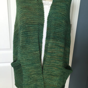 Hand Knit Pocketed Shawl / Wrap - Green Hand Painted Merino Wool