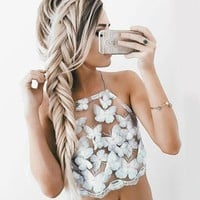 ICIKN6V Summer Sexy White Mesh Lace Crochet Bralette Bustier Crop Top Women Casual Hollow Short Camis Tank Tops