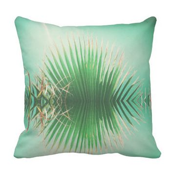 Palm Leaves Summer Beach Green Cushion Pillow