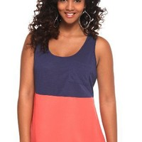 Blue And Coral Color Block Tank Top