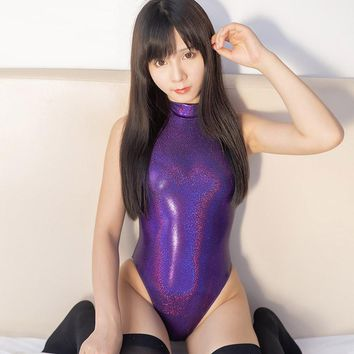 Japanese High-end sexy SPA one-piece swimsuit Purple color High-Leg Glossy sukumizu Tight-fitting swimsuit COSPLAY High collar