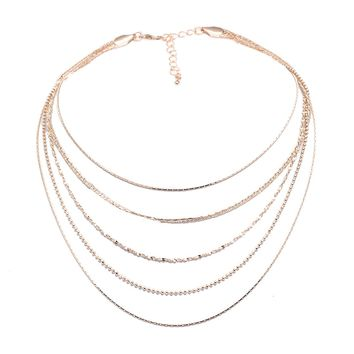 Sparkling Multi Link Layered Choker Necklace