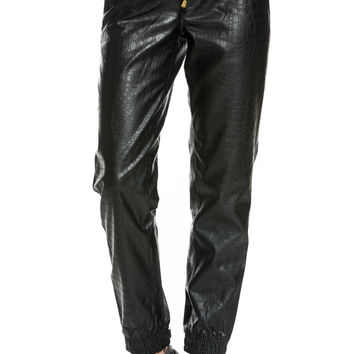 PU Crocodile Faux Leather Jogger Pants Black