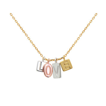 """Silver Rhodium, Rose and Gold Plated 4 Square Plates """"L-O-V-E""""  Letters Embossed 16""""+2""""Necklace"""