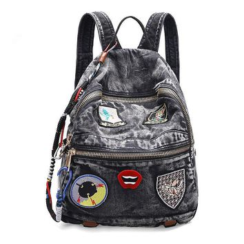 Hot!!! Wash denim canvas simple Korean travel lady backpack retro