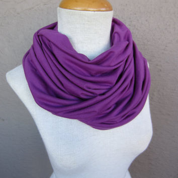 Purple Infinity Scarf - Eggplant Colored Cowl - Violet Jersey Scarf
