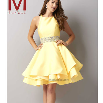Mac Duggal 48378 Lemon Sleeveless Beaded Ruffled Short Dress 2015 Homecoming Dresses