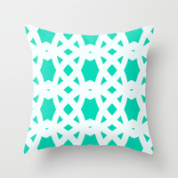 Arabic Lattice in Aqua Throw Pillow by House of Jennifer