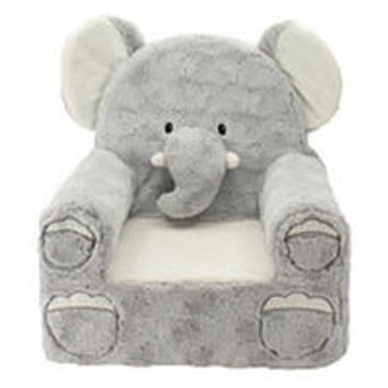 Animal Adventure Sweet Seats Plush Elephant Chair - Gray