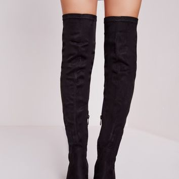 Missguided - Over The Knee Cleated Sole Boots Black