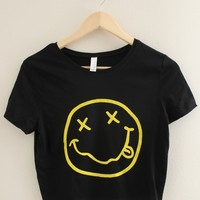 Grunge Smiley Face Black Graphic Crop Top
