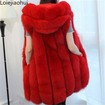 2016 Spring new women High quality hooded fur coat silver fox imitation fur vest plus size ladies fox fur coat