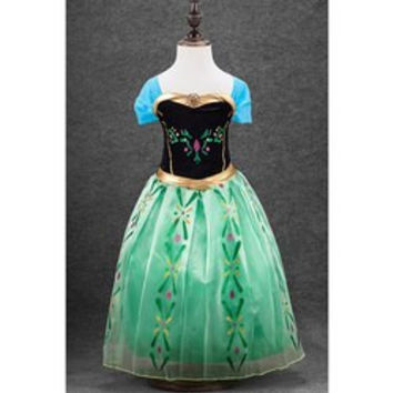 Stylish Short Sleeve Square Neck Patterned Spliced Frozen Cosplay Girl's Dress