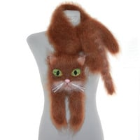 Knitted Scarf  / animal scarf /  rufous scarf cat / Fuzzy  rufous Soft Scarf / Pet portrait / cat scarf / knit cat scarf / animal scarf