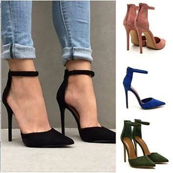 2017 Summer Casual Shoes Women Black Pink Sexy High Thin Heels Pointed Toe Zippers Wom