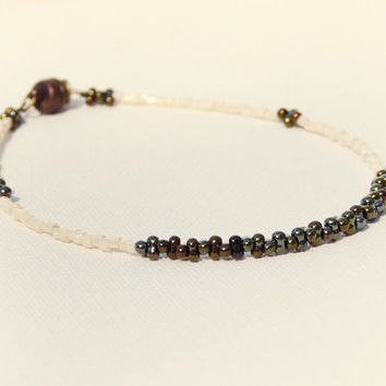Bridal ankle bracelet Cream white iris brown minimalist ankle bracelet. tiny seed bead jewelry,