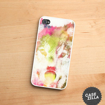 iPhone 5 Case Watercolor Wolf Hipster iPhone 5S Case, iPhone 4/4S Case, iPhone 5C Case