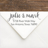 Calligraphy Return Address Stamp - Pretty Handwriting Stamp for a Couple - Gift for Bride & Groom - Personalized Rubber or Self Inking Stamp