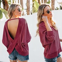 Oversize Backless Pullover Sweatshirt