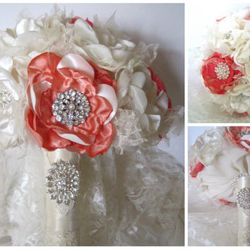 Wedding Bouquet Vintage Inspired Fabric Brooch Bouquet in Coral Peach and Ivory with Pearls Rhinestones and Lace Custom Made