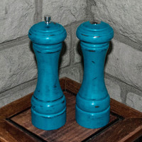 Salt Shaker and Pepper Mill,Hand Painted Teal